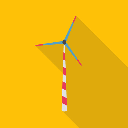 windpower: Flat icon of wind power plant. Ecology energy - vector.