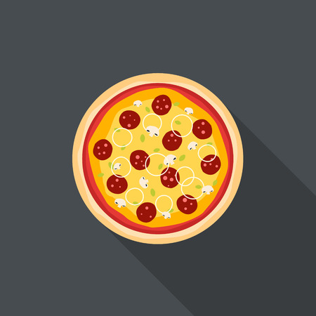 Italian pizza flat style background Vector