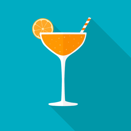 Juice glass flat icon with long shadow. Stock Illustratie