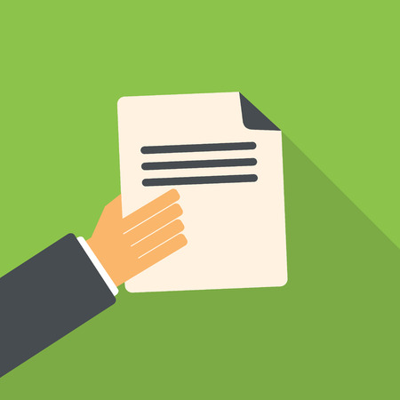 Business man hand holding document, vector flat design. Vector