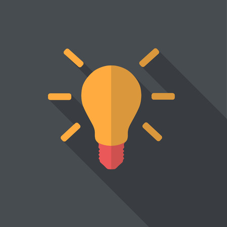 energy: Light-bulb flat design with long shadow. Illustration