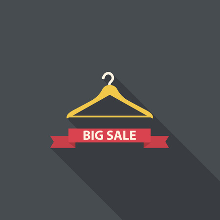 Shopping cloth hanger with big sale ribbon Vector