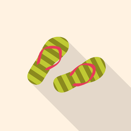 flop: Summer flip flop flat Icon with long shadow.