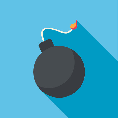 bomb cartoon: Bomb flat web design on blue background with long shadow. Illustration