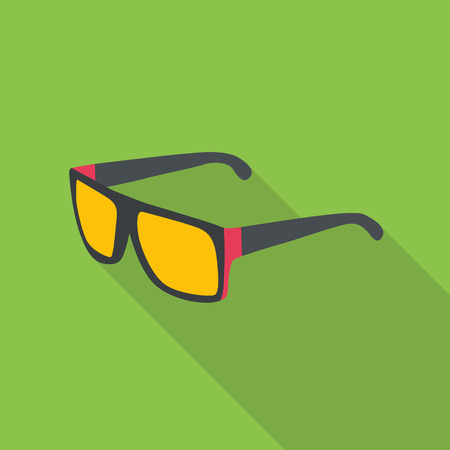 Vector sun glasses flat icon with long shadow.