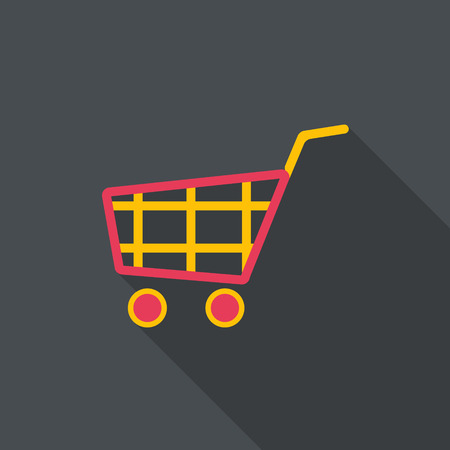 Shopping cart icon. Flat design with long shadow.