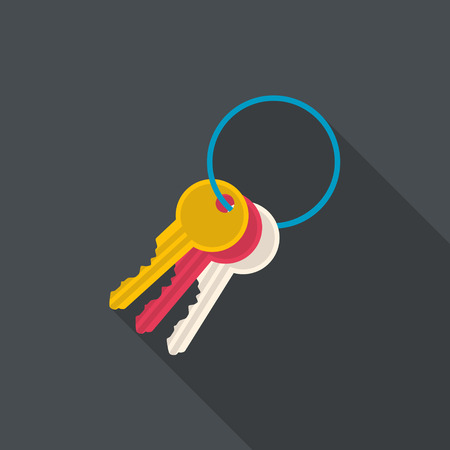Keys flat icon with long shadow. Vector illustration. Illustration