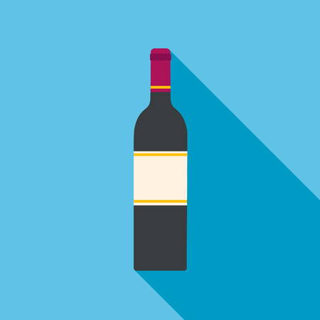 Wine bottle vector flat icon with long shadow Illustration