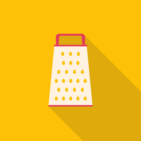 grater: kitchenware grater flat design with long shadow