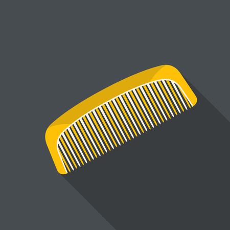 Vector illustration of hair comb. Flat design with long shadow.