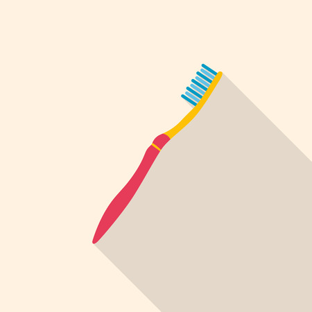Flat Icon of toothbrush with a long shadow.