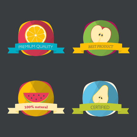 Set of fresh organic labels and elements. Flat icons.
