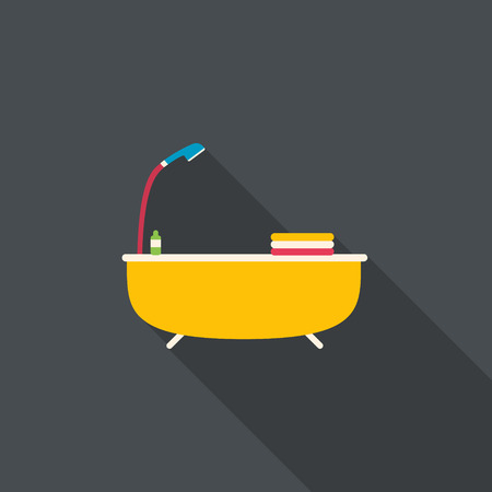 Bath with shower and towels. Flat design with long shadow. Vector illustration.