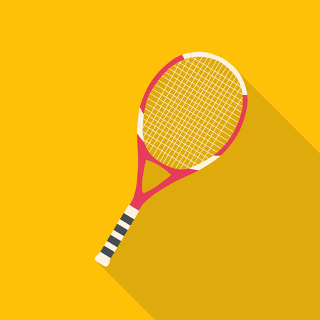 tennis: Tennis racket flat design with long shadow
