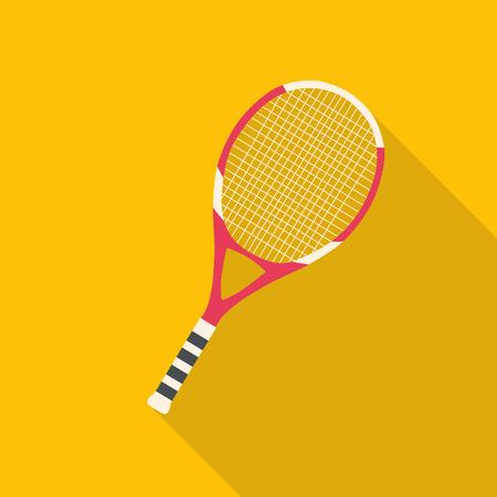 tennis player: Tennis racket flat design with long shadow