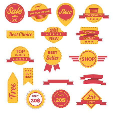 Vector badges labels, stickers and ribbons set. Vector illustration.