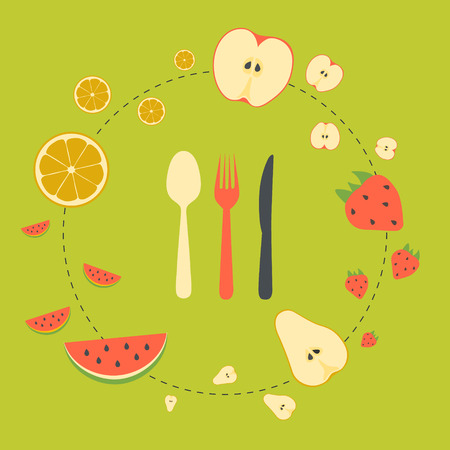 Fruits background in flat style. Template for menu. Vector illustration.