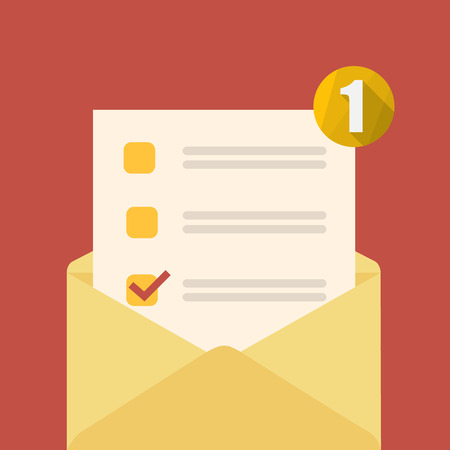 Yellow open envelope with check form and notification. Vector illustration. Illustration