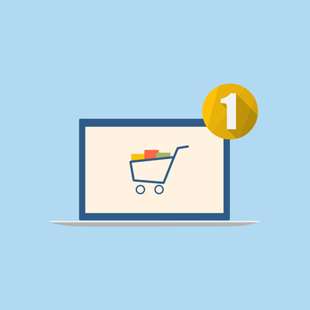 Laptop with shopping cart and notification icon. Vector illustration. Illustration