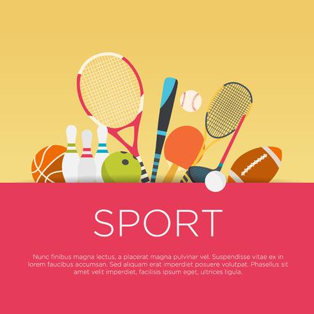 lazer: Conceito esporte design plano. Sports equipamento fundo.