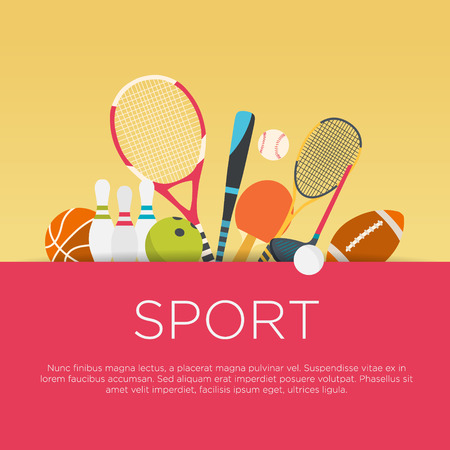 fun: Flat design sport concept. Sports equipment background.