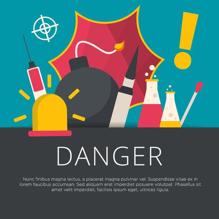 caution chemistry: Danger concept in flat design. Vector illustration.