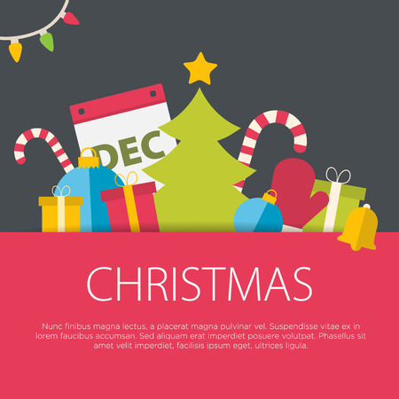 seasons greeting card: Flat design christmas concept. A set of flat design elements.