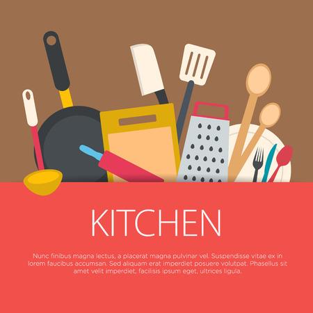 utensilios de cocina: Concepto de cocina Diseño plano. Equipo de cocina de fondo. Ilustración del vector. Vectores