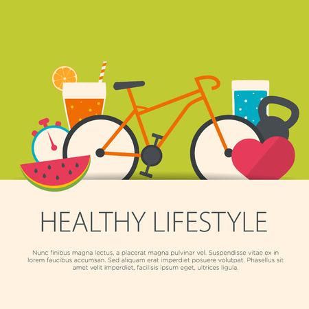 vida sana: Concepto de estilo de vida saludable en diseño plano. Ilustración del vector.