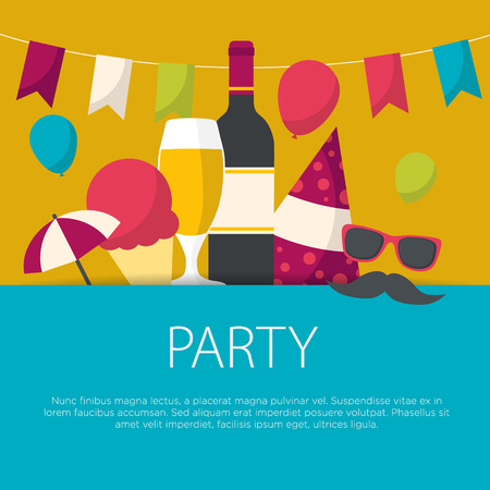Party concept in flat design. Party equipment, vector illustration.