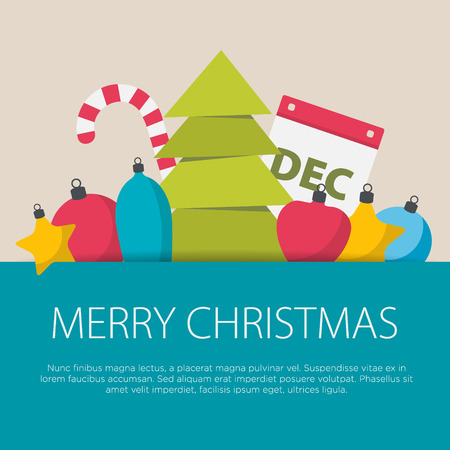 Flat design christmas concept. A set of flat design with Xmas elements.