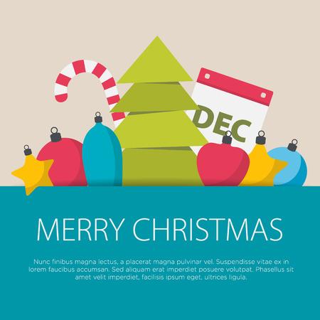 Platte ontwerp van Kerstmis concept. Een set van platte design met Kerstmis elementen.