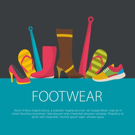 Flat design footwear concept. footwear background. Vector illustration.