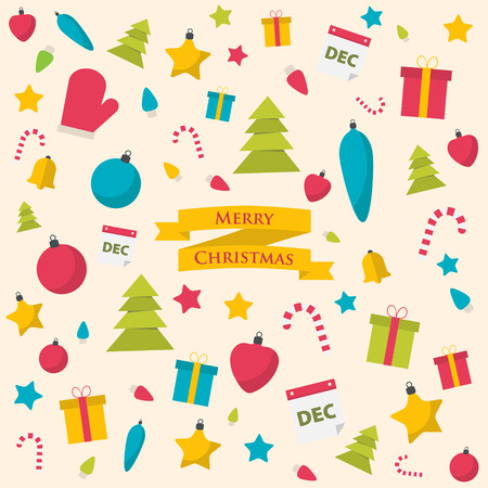 Christmas vector wallpaper with flat elements. Illustration