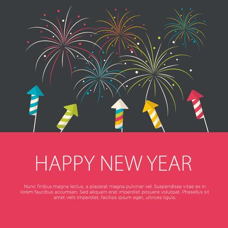 Gelukkig Nieuwjaar wenskaart plat design. Vector illustratie.