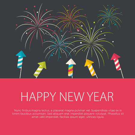 pyro: Happy New Year greeting card flat design. Vector illustration. Illustration