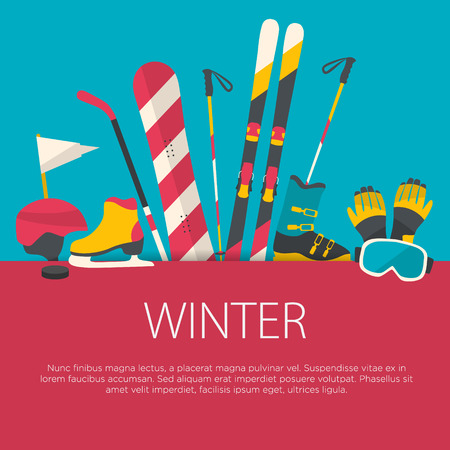sports equipment: Flat design winter sport concept. Sports equipment background.