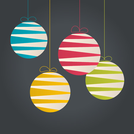 Abstract hanging Christmas baubles made from lines.