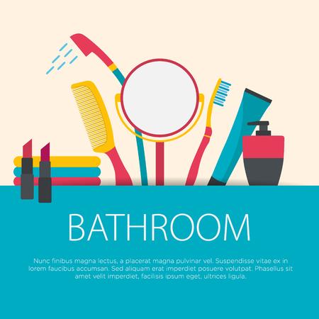 bathroom equipment: Flat design bathroom concept. Bathroom equipment background. Vector illustration.