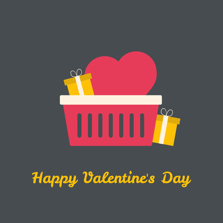 Valentines shoping basket with heart and gifts. Vector illustration. Illustration