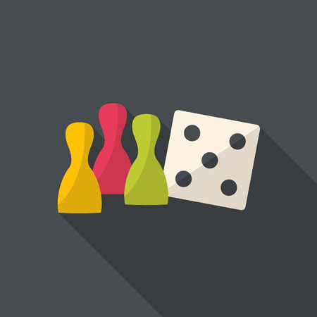 Board game figure with white dice. Ludo figures. Flat design. Illustration