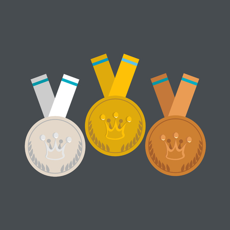 bronze medal: Medals flat design. Gold, silver and bronze medal with crown concept.