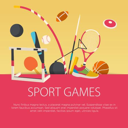 Platte ontwerp sport concept. Vector illustratie. Stock Illustratie