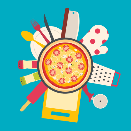 Flat design theme of cooking pizza. Kitchenware tools. Illustration
