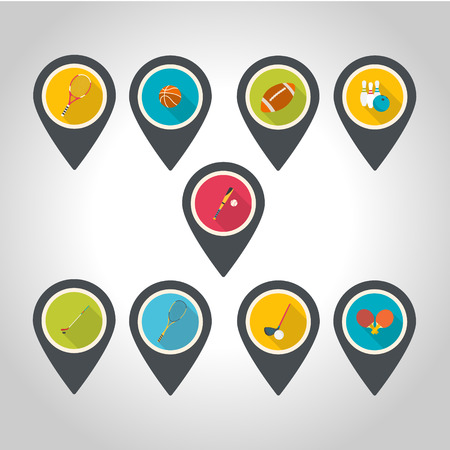 Set of map pointer with sport icons.