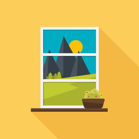 overlooking: The window overlooking the landscape. Window with plant. Flat style vector illustration.