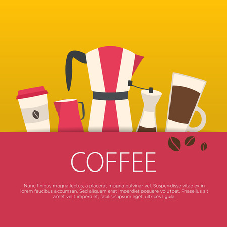 Flat design coffee concept. Coffee shop. Vector illustration background.