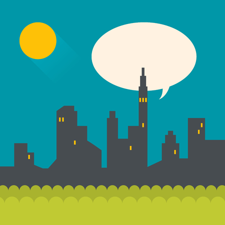 Modern flat illustration of night city with moon and speech bubble.