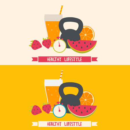 Healthy lifestyle modern flat illustration. Healthy food, sport, fitness, drink and diet. Illustration