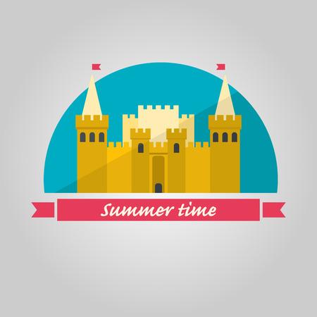 Sand castle illustration in flat style on blue background. Summer time illustration. Illustration